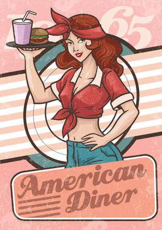 restaurante americano Ilustración de vector