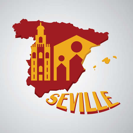 spain map: spain map with seville cathedral