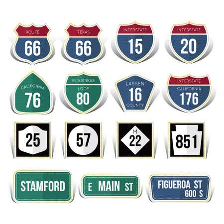 usa road sign collection Illusztráció