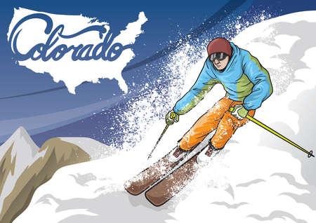 colorado mountains: man skiing