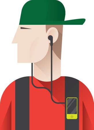 listening: man listening to music