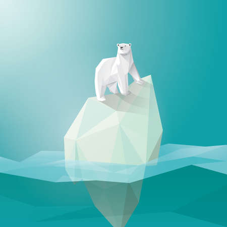 polar bear on iceberg Illustration
