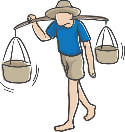 man carrying: man carrying pole with baskets over the shoulder