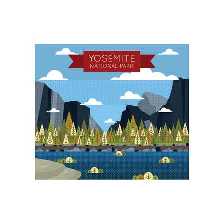 fondos de escritorio Parque Nacional de Yosemite Ilustración de vector