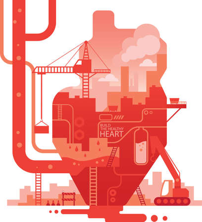 exposure: double exposure of heart and factory Illustration