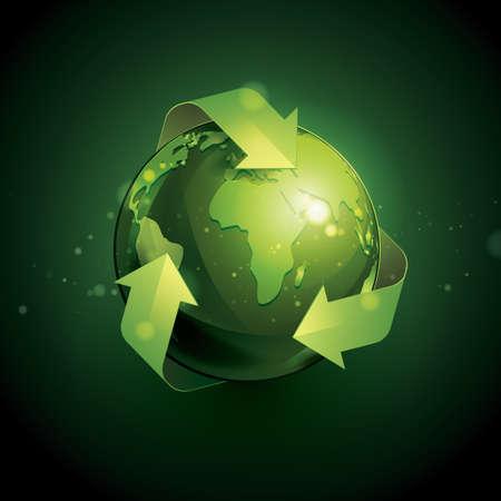 green arrow: eco globe Illustration