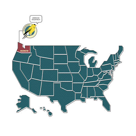 us map: us map with washington state bird