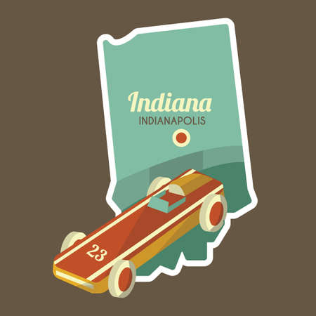 indianapolis: map of indianapolis state Illustration