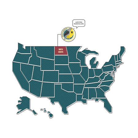 north dakota: us map with north dakota
