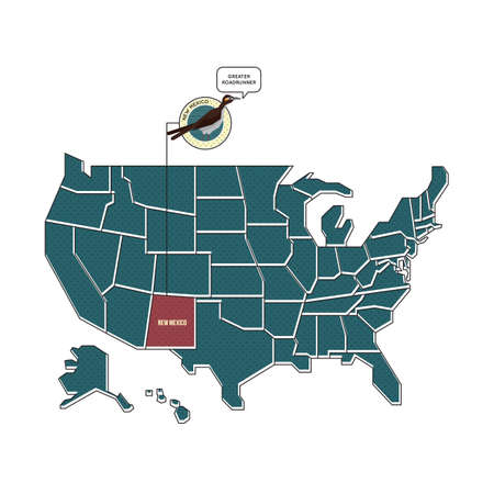Us Map With New Mexico State Bird Royalty Free Cliparts Vectors - New mexico on the us map