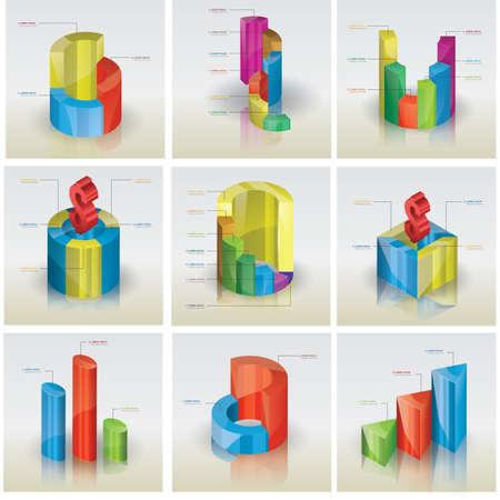 3d: 3d graph collection Illustration
