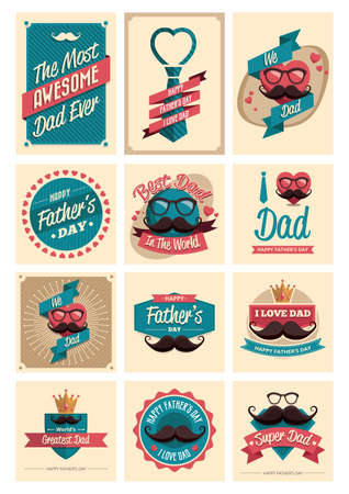cigar smoking man: set of fathers day labels