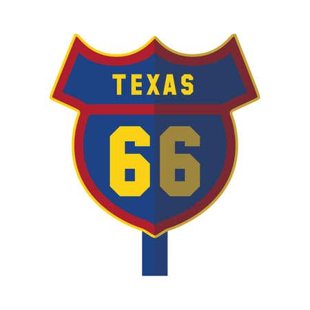 66: texas 66 road sign Illustration