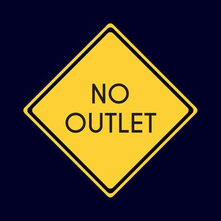 outlet: no outlet road sign Illustration