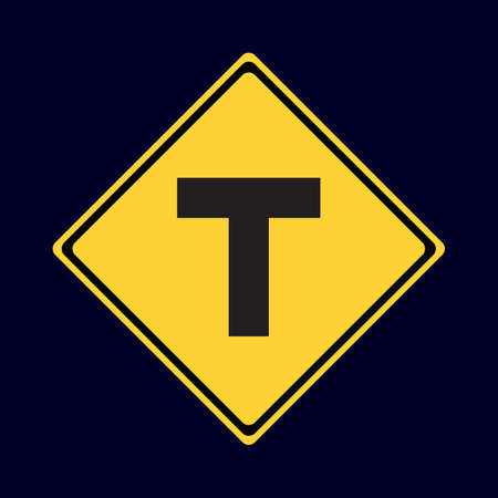 intersection: t intersection ahead Illustration