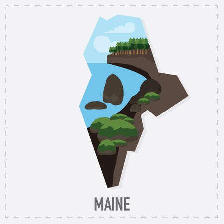 maine: maine map sticker Illustration