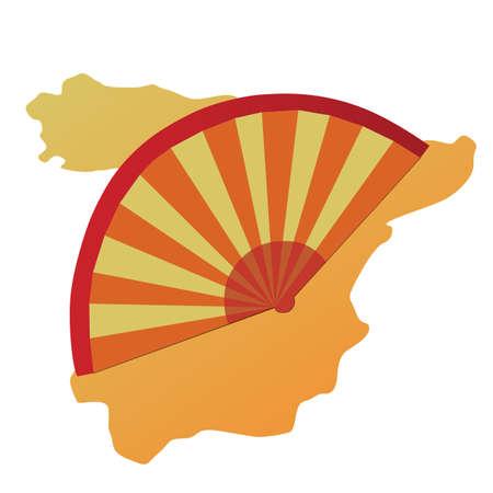 spanish fan: spain map and flamenco fan