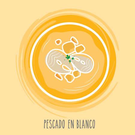 spanish food: pescado en blanco Illustration