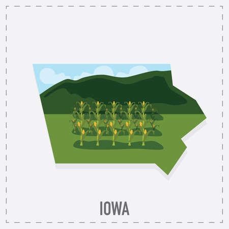 iowa: iowa map sticker Illustration