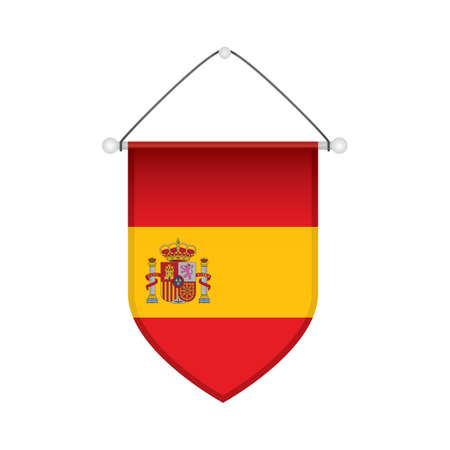 pennon: spain flag pennant Illustration