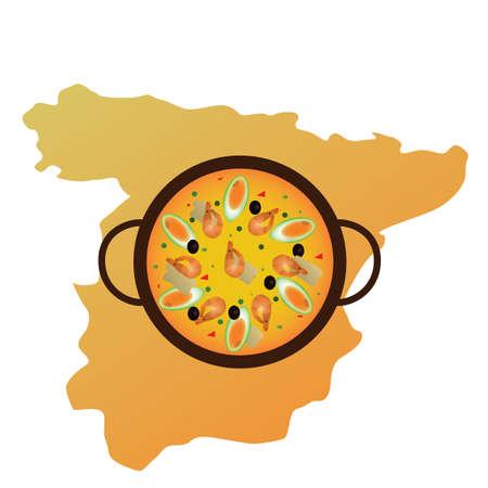 スペイン地図とパエリア ・ デ ・ arroz