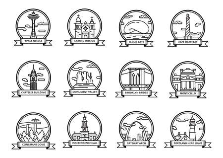brooklyn bridge: set of historical usa landmarks Illustration