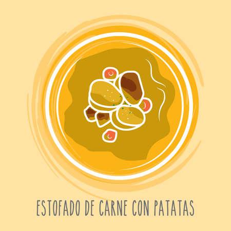 con: estofado de carne con patatas Illustration