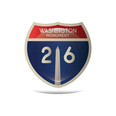 washington monument: washington monument highway sign Illustration