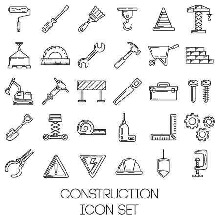 wheel barrow: set of construction tools Illustration