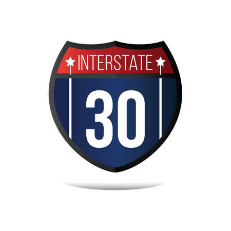 the 30: interstate 30 route sign