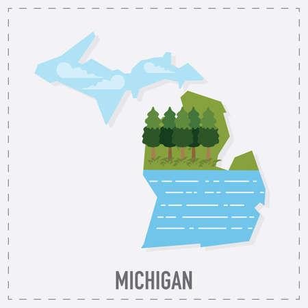 michigan: michigan map sticker
