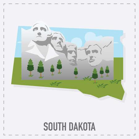 mt rushmore: south dakota map sticker Illustration