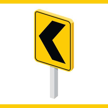 signal pole: left chevron road sign Illustration