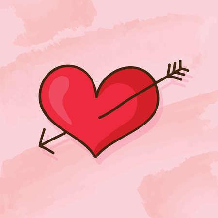 pierced: heart pierced by an arrow Illustration