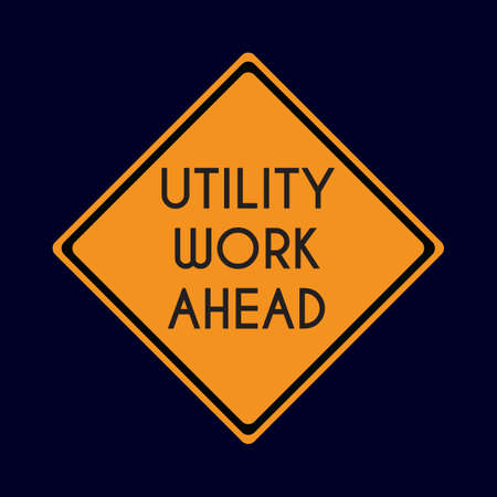 utility work ahead road sign Illustration