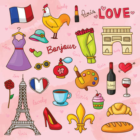 bonjour: set of france general icons Illustration