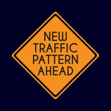 road works ahead: new traffic pattern ahead road sign