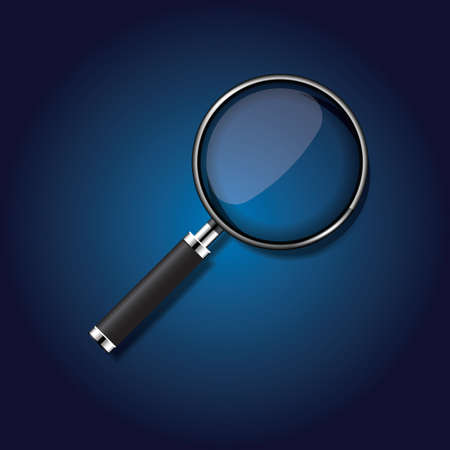 scrutiny: magnifying glass Illustration