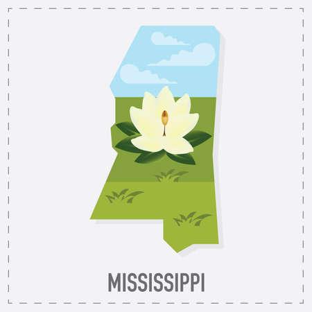 unites: mississippi map sticker Illustration