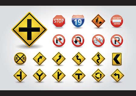 no u turn sign: set of usa road signs Illustration