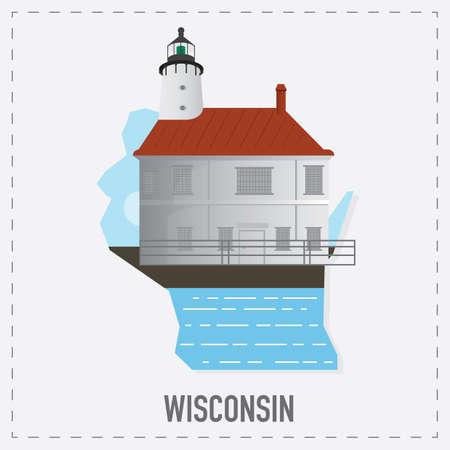 wisconsin: wisconsin map sticker Illustration
