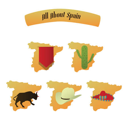 bullfight: set of spain icons
