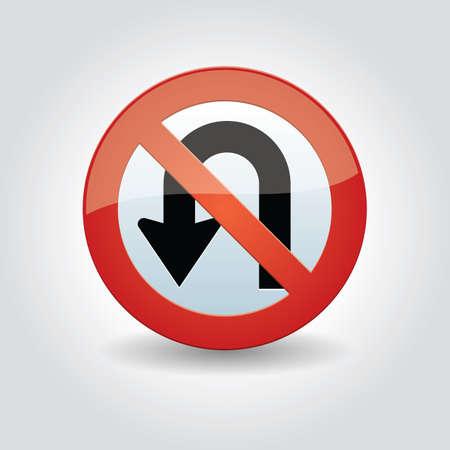 roadsigns: no u-turn sign Illustration