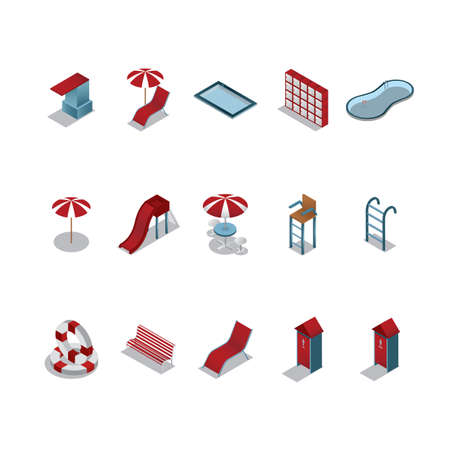 diving board: set of swimming pool icons