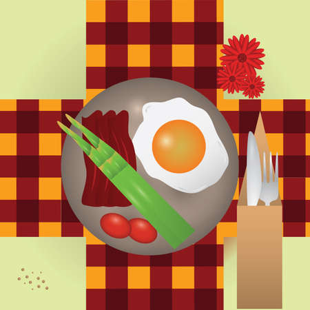 bacon strips: spanish breakfast food Illustration