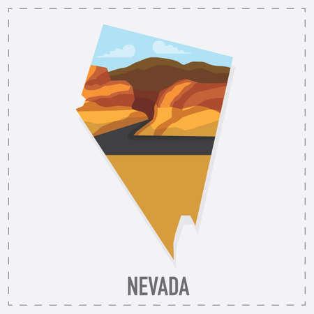 nevada: nevada map sticker Illustration