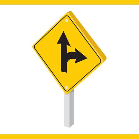 signal pole: mandatory straight or right turn ahead sign Illustration