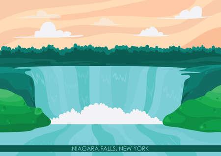 fall scenery: niagara falls wallpaper Illustration