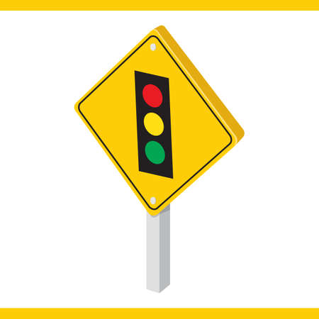 roadsigns: traffic lights ahead road sign Illustration