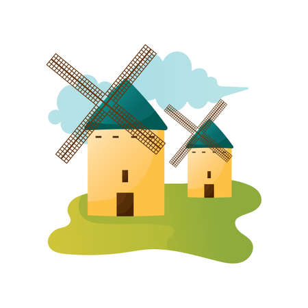castilla: castilla la mancha windmills Illustration